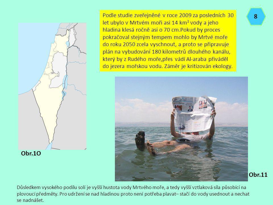Podle studie zveřejněné v roce 2009 za posledních 30 let ubylo v Mrtvém moři asi 14 km 3 vody a jeho hladina klesá ročně asi o 70 cm.Pokud by proces p