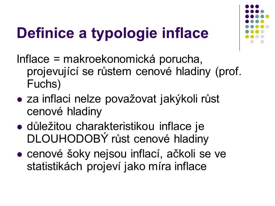 Definice a typologie inflace Inflace = makroekonomická porucha, projevující se růstem cenové hladiny (prof. Fuchs) za inflaci nelze považovat jakýkoli