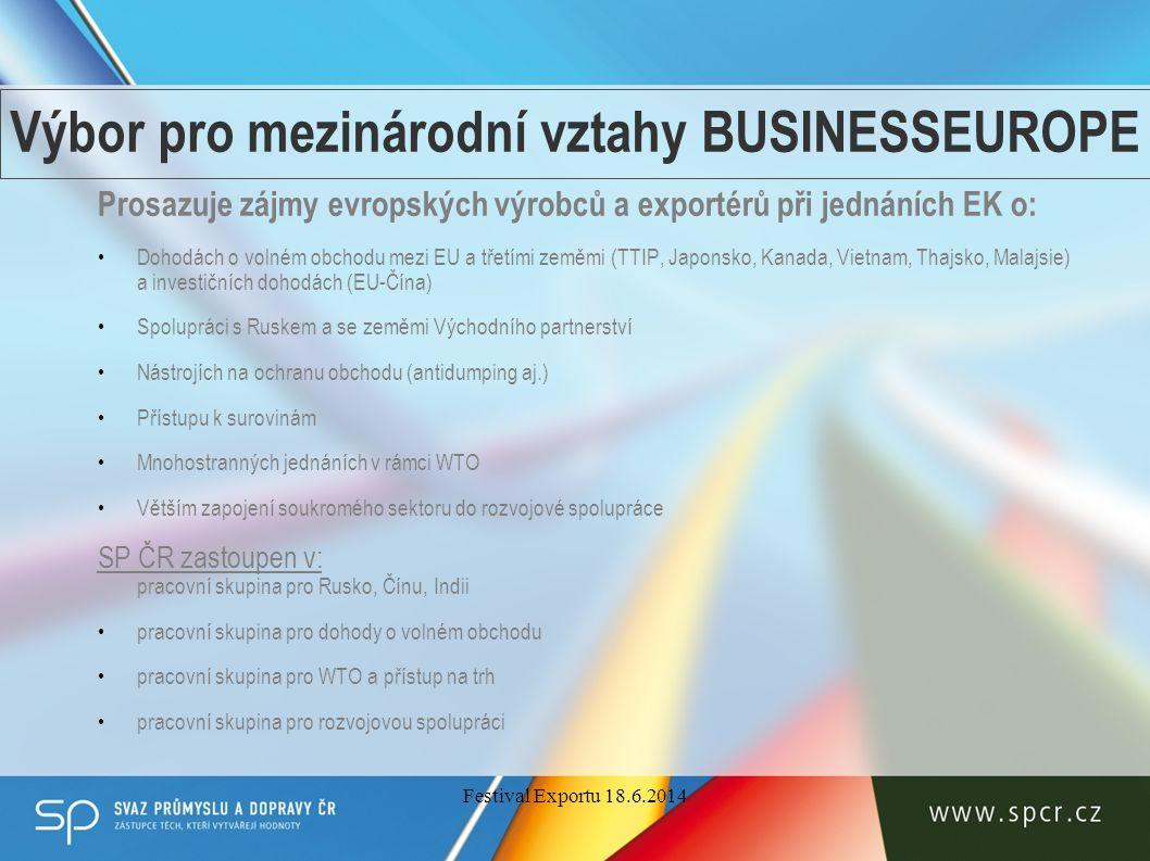 CEBRE Česká podnikatelská reprezentace v Bruselu – společná kancelář Svazu průmyslu a dopravy, Hospodářské komory a Konfederace podnikatelských a zaměstnavatelských svazů poskytuje zejména MSP poradenské služby a informace o unijní legislativě včetně informací o obchodování se třetími zeměmi – Market Access Database http://madb.europa.eu/userguide/CS_def.pdf monitoruje fondy a programy EU (programy vnější pomoci, rozvojové apod.) zajišťuje individuální školící stáže v Bruselu koordinuje spolupráci podnikatelské sféry s českými europoslanci www.cebre.cz Festival Exportu 18.6.2014