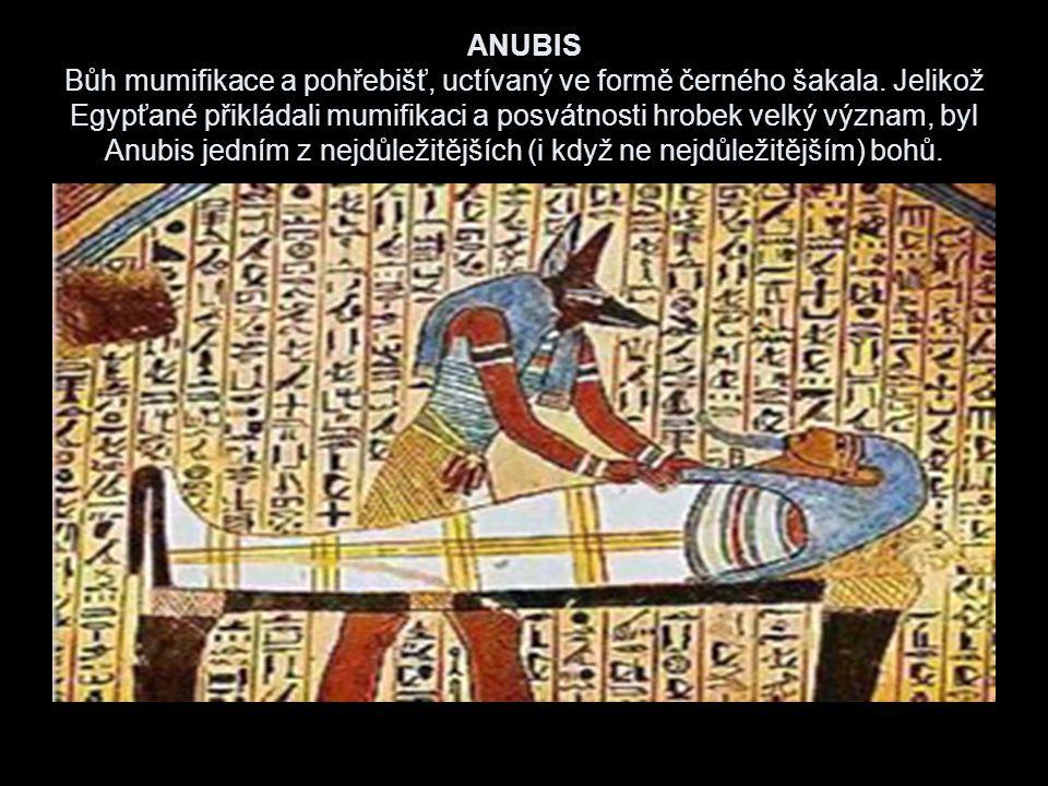 ANUBIS Bůh mumifikace a pohřebišť, uctívaný ve formě černého šakala.
