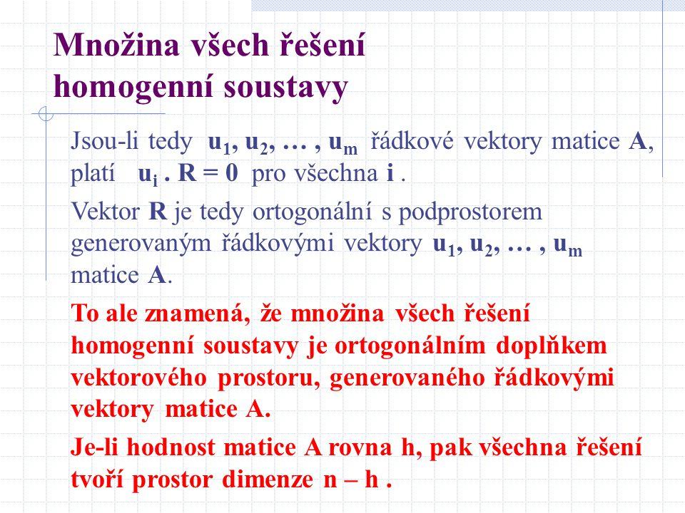 Množina všech řešení homogenní soustavy Jsou-li tedy u 1, u 2, …, u m řádkové vektory matice A, platí u i.