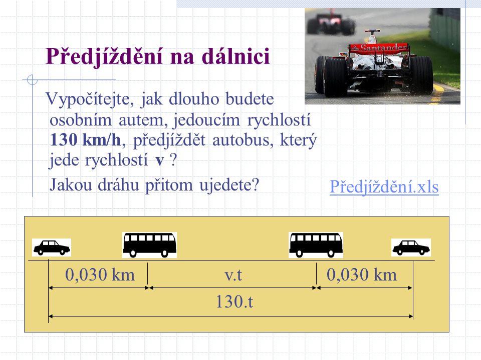 Předjíždění na dálnici Vypočítejte, jak dlouho budete osobním autem, jedoucím rychlostí 130 km/h, předjíždět autobus, který jede rychlostí v .