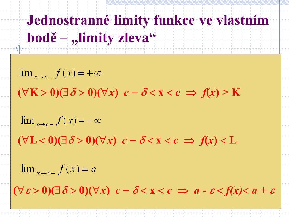 """Jednostranné limity funkce ve vlastním bodě – """"limity zleva (  K  0)(   0)(  x) c    x  c  f(x) > K (  L  0)(   0)(  x) c    x  c  f(x)  L (   0)(   0)(  x) c    x  c  a -   f(x)  a + """