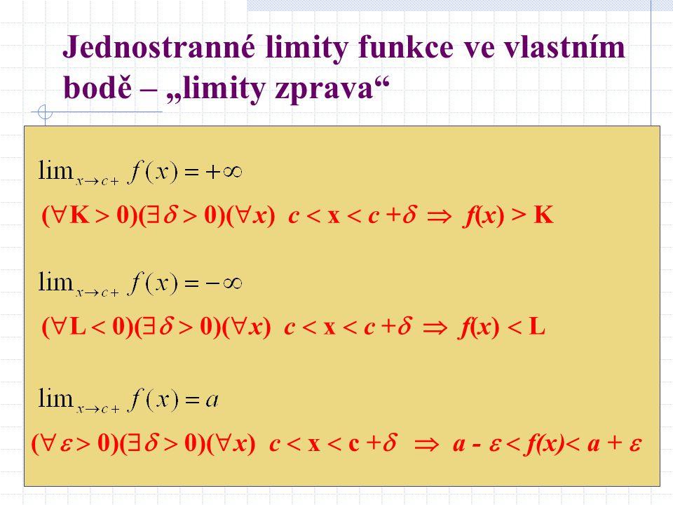 """Jednostranné limity funkce ve vlastním bodě – """"limity zprava (  K  0)(   0)(  x) c  x  c +   f(x) > K (  L  0)(   0)(  x) c  x  c +   f(x)  L (   0)(   0)(  x) c  x  c +   a -   f(x)  a + """