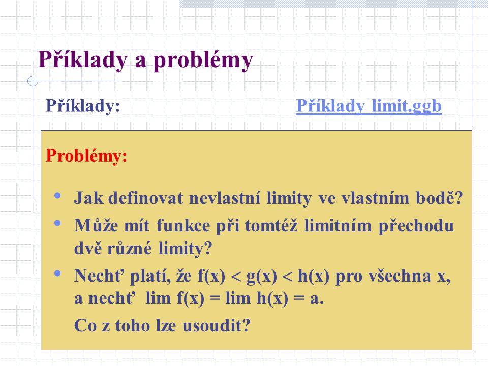 Příklady a problémy Jak definovat nevlastní limity ve vlastním bodě.
