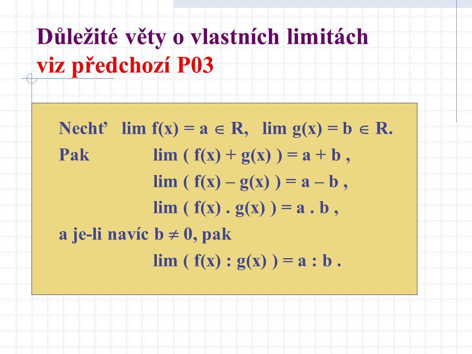 Důležité věty o vlastních limitách viz předchozí P03 Nechť lim f(x) = a  R, lim g(x) = b  R.