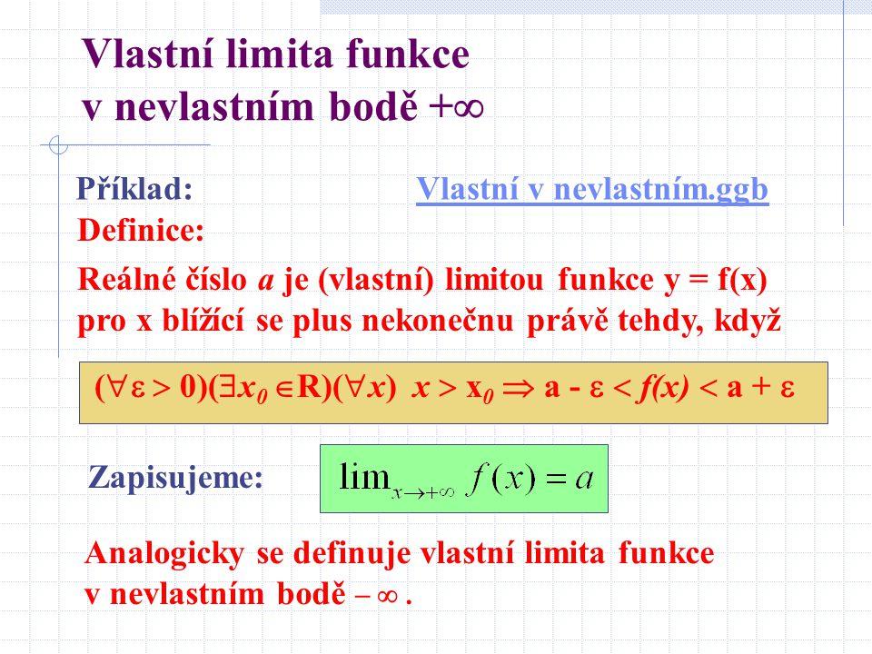 Vlastní limita funkce v nevlastním bodě +  Definice: Reálné číslo a je (vlastní) limitou funkce y = f(x) pro x blížící se plus nekonečnu právě tehdy, když (   0)(  x 0  R)(  x) x  x 0  a -   f(x)  a +  Zapisujeme: Příklad:Vlastní v nevlastním.ggbVlastní v nevlastním.ggb Analogicky se definuje vlastní limita funkce v nevlastním bodě  .