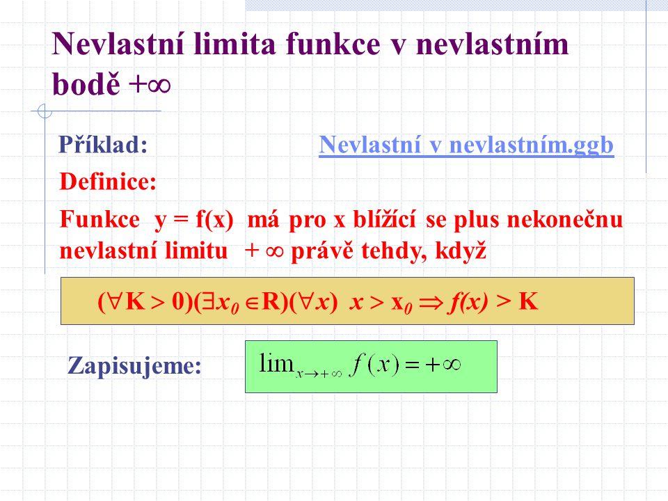 Nevlastní limita funkce v nevlastním bodě +  Zapisujeme: Příklad:Nevlastní v nevlastním.ggbNevlastní v nevlastním.ggb Definice: Funkce y = f(x) má pro x blížící se plus nekonečnu nevlastní limitu +  právě tehdy, když (  K  0)(  x 0  R)(  x) x  x 0  f(x) > K
