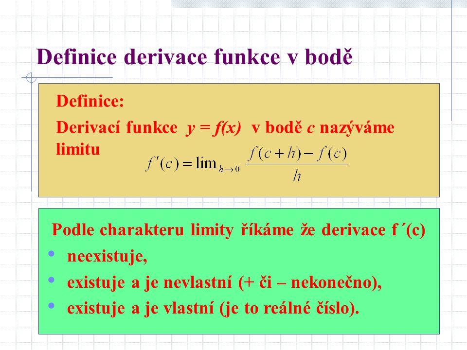 Definice derivace funkce v bodě Definice: Derivací funkce y = f(x) v bodě c nazýváme limitu Podle charakteru limity říkáme že derivace f ´(c) neexistuje, existuje a je nevlastní (+ či – nekonečno), existuje a je vlastní (je to reálné číslo).
