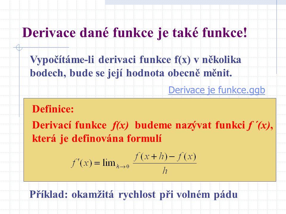 Derivace dané funkce je také funkce.