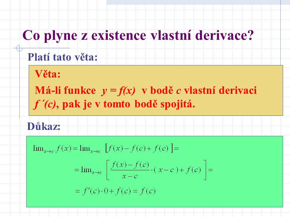 Co plyne z existence vlastní derivace.