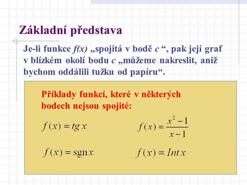 """Základní představa Je-li funkce f(x) """"spojitá v bodě c , pak její graf v blízkém okolí bodu c """"můžeme nakreslit, aniž bychom oddálili tužku od papíru ."""