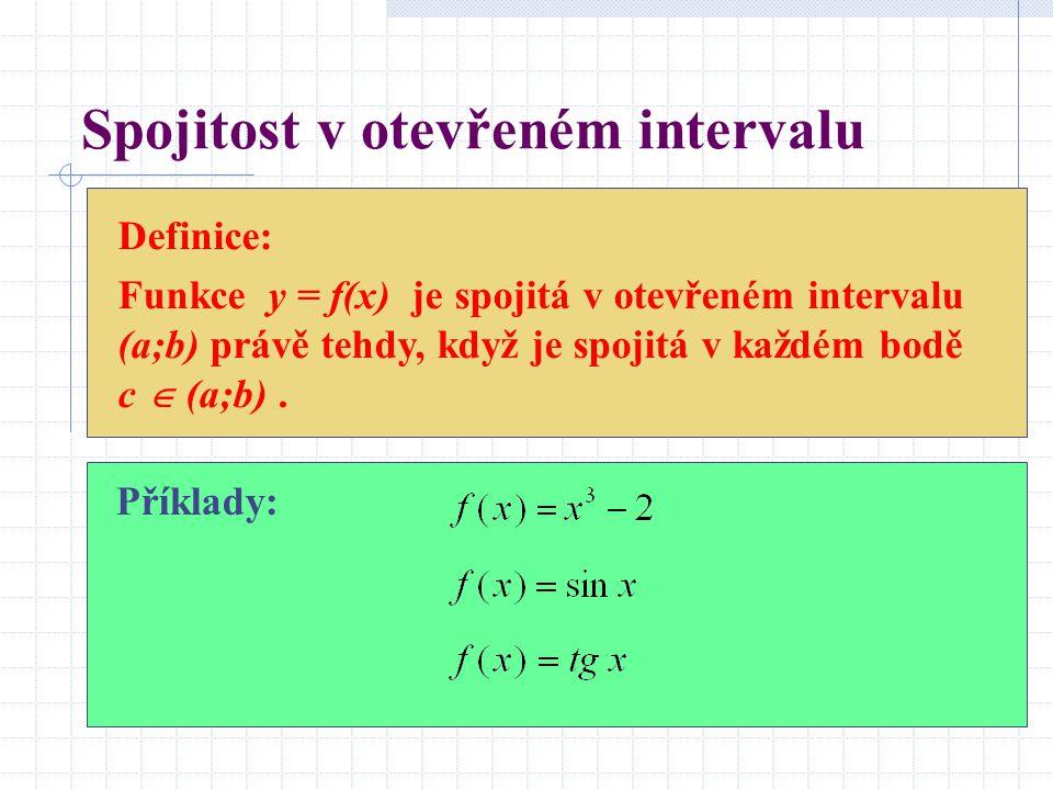 Spojitost v otevřeném intervalu Definice: Funkce y = f(x) je spojitá v otevřeném intervalu (a;b) právě tehdy, když je spojitá v každém bodě c  (a;b).