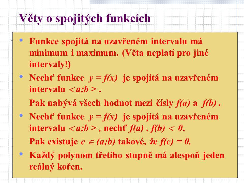 Věty o spojitých funkcích Funkce spojitá na uzavřeném intervalu má minimum i maximum.
