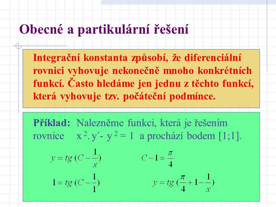 Obecné a partikulární řešení Integrační konstanta způsobí, že diferenciální rovnici vyhovuje nekonečně mnoho konkrétních funkcí.