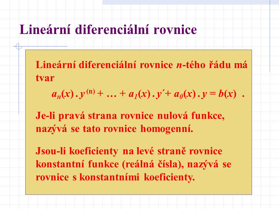 Příklad diferenciální rovnice Uvažujme systém parabol, které jsou popsány rovnicí s parametrem C y = x 2 – C.