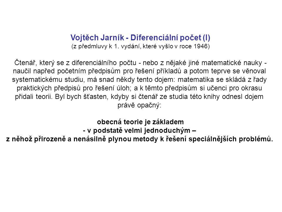 Vojtěch Jarník - Diferenciální počet (I) (z předmluvy k 1.