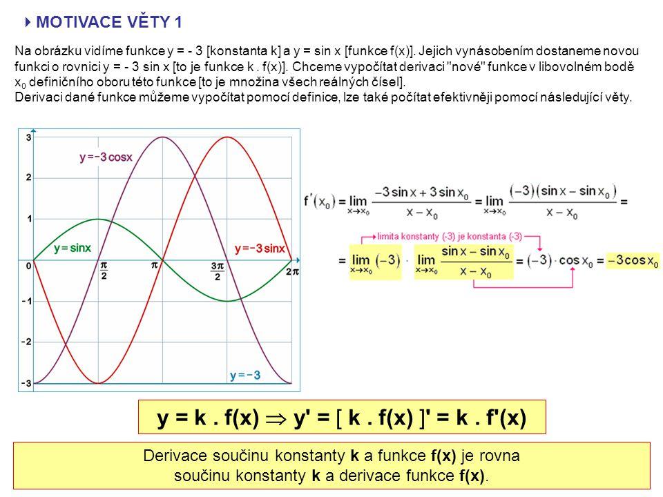 VĚTA 1: Předpokládejme, že k je libovolná reálná konstanta a f(x) je funkce, která má derivaci (vlastní) v bodě x 0.