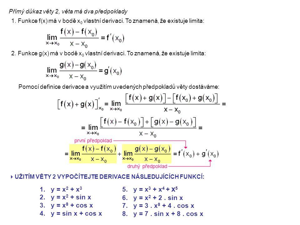 Přímý důkaz věty 2, věta má dva předpoklady 1. Funkce f(x) má v bodě x 0 vlastní derivaci.