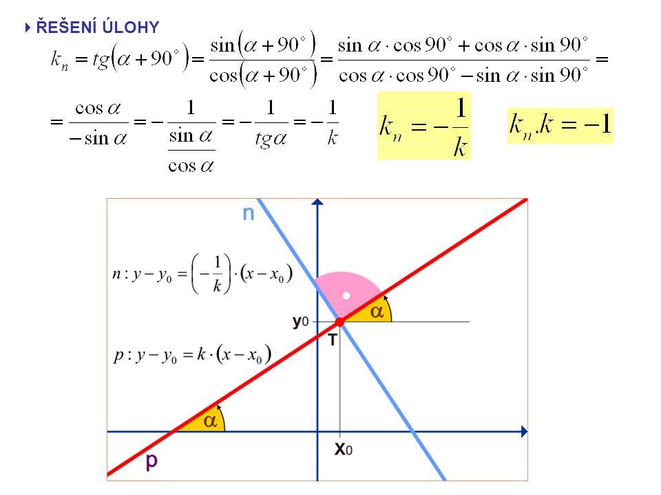  PŘÍKLAD 1 Napište obecnou rovnici přímky p, která prochází bodem T [1; 5] a má směrový úhel  Potom napište obecnou rovnici přímky n, která prochází bodem T kolmo k přímce p.