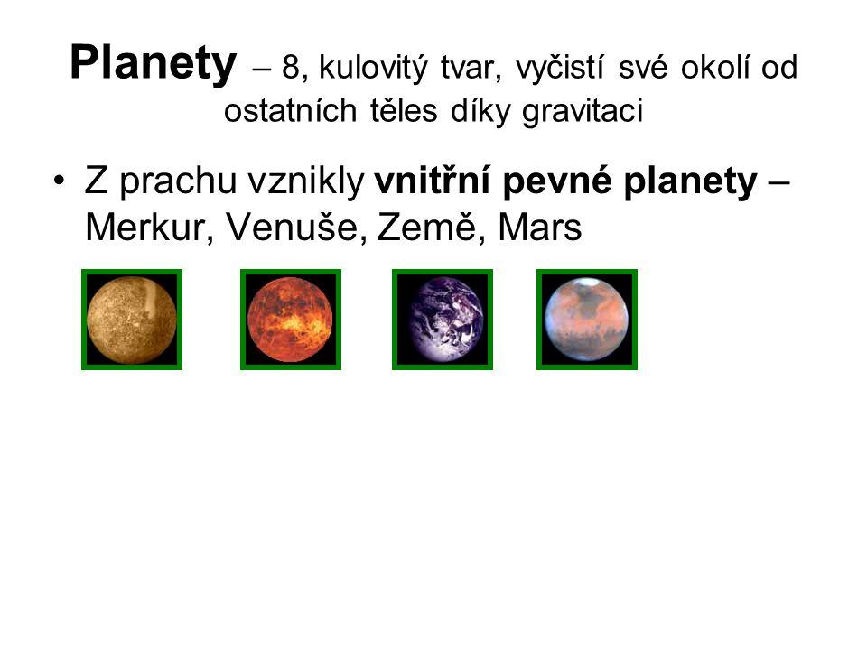 Planety – 8, kulovitý tvar, vyčistí své okolí od ostatních těles díky gravitaci Z prachu vznikly vnitřní pevné planety – Merkur, Venuše, Země, Mars