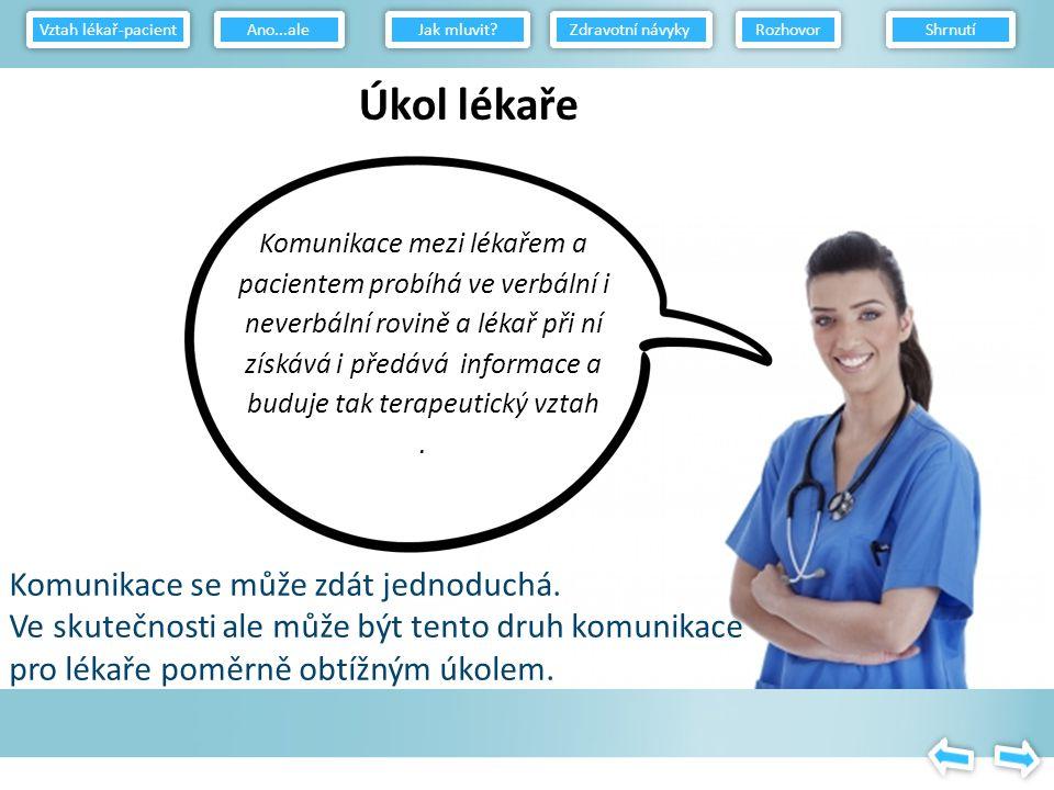 Komunikace mezi lékařem a pacientem probíhá ve verbální i neverbální rovině a lékař při ní získává i předává informace a buduje tak terapeutický vztah.
