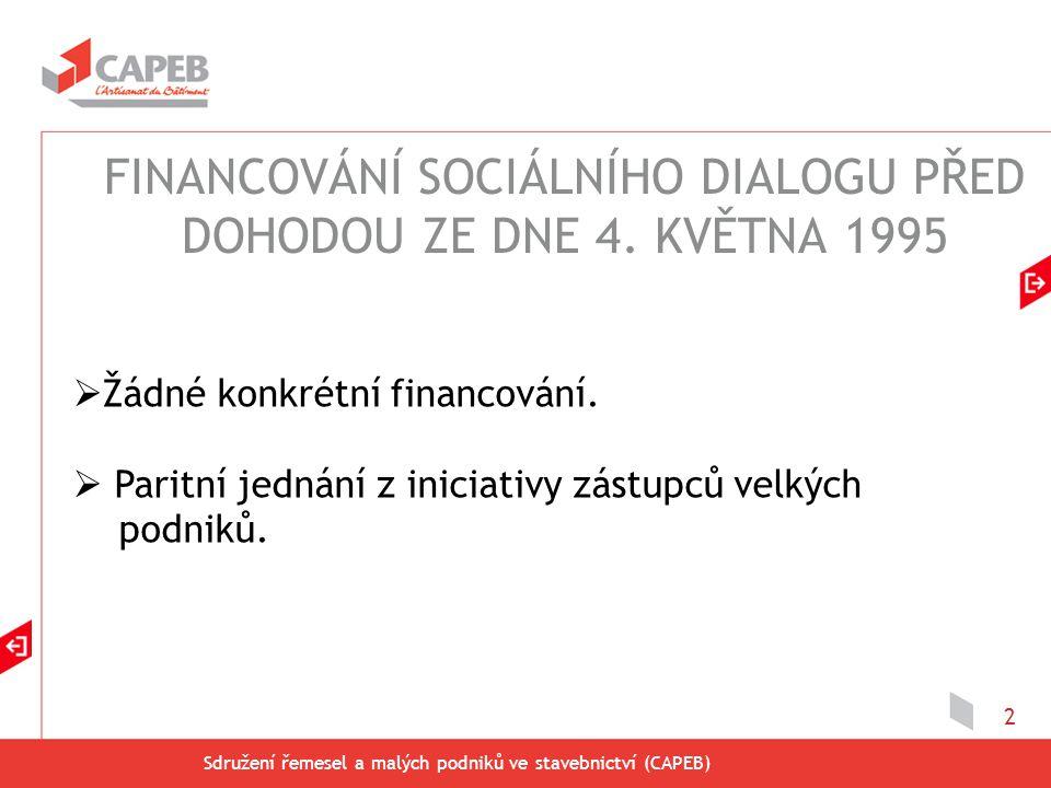 Sdružení řemesel a malých podniků ve stavebnictví (CAPEB) 2  Žádné konkrétní financování.  Paritní jednání z iniciativy zástupců velkých podniků. FI