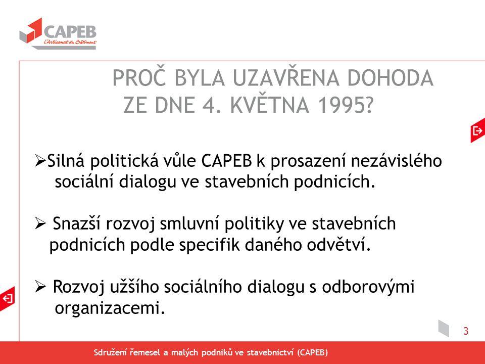 Sdružení řemesel a malých podniků ve stavebnictví (CAPEB) 3  Silná politická vůle CAPEB k prosazení nezávislého sociální dialogu ve stavebních podnic