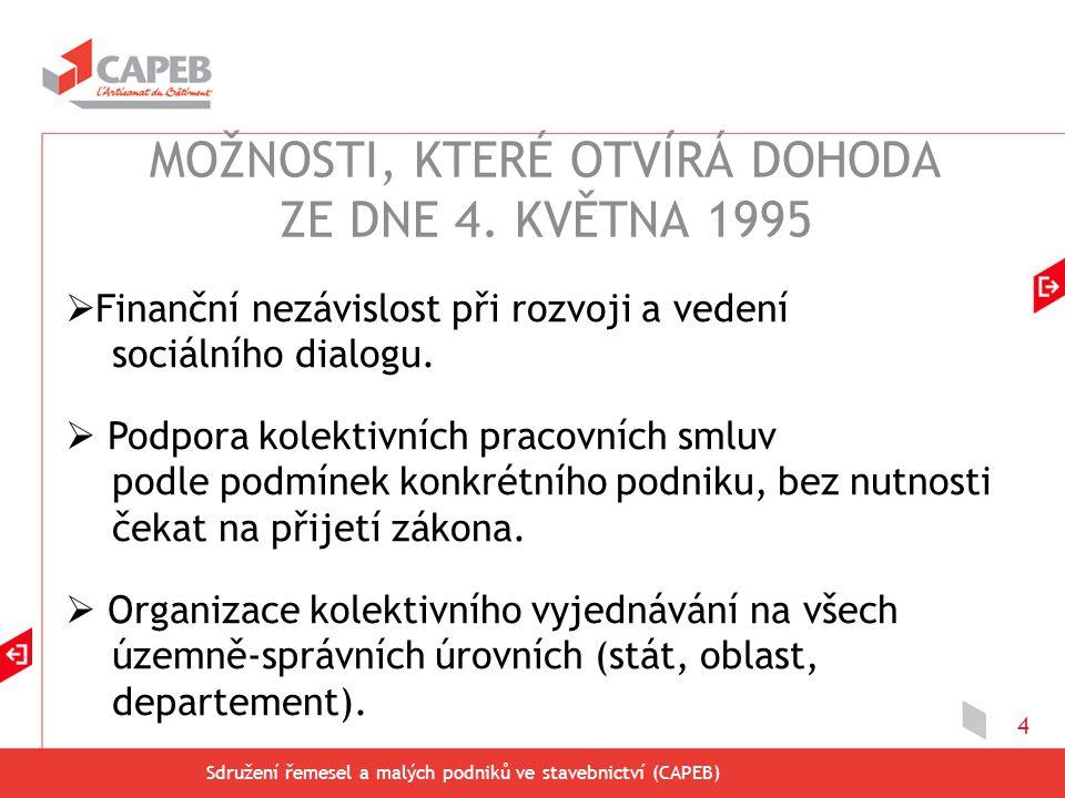 Sdružení řemesel a malých podniků ve stavebnictví (CAPEB) 15  Dohoda uzavřená na základě mezioborové dohody ze dne 12.