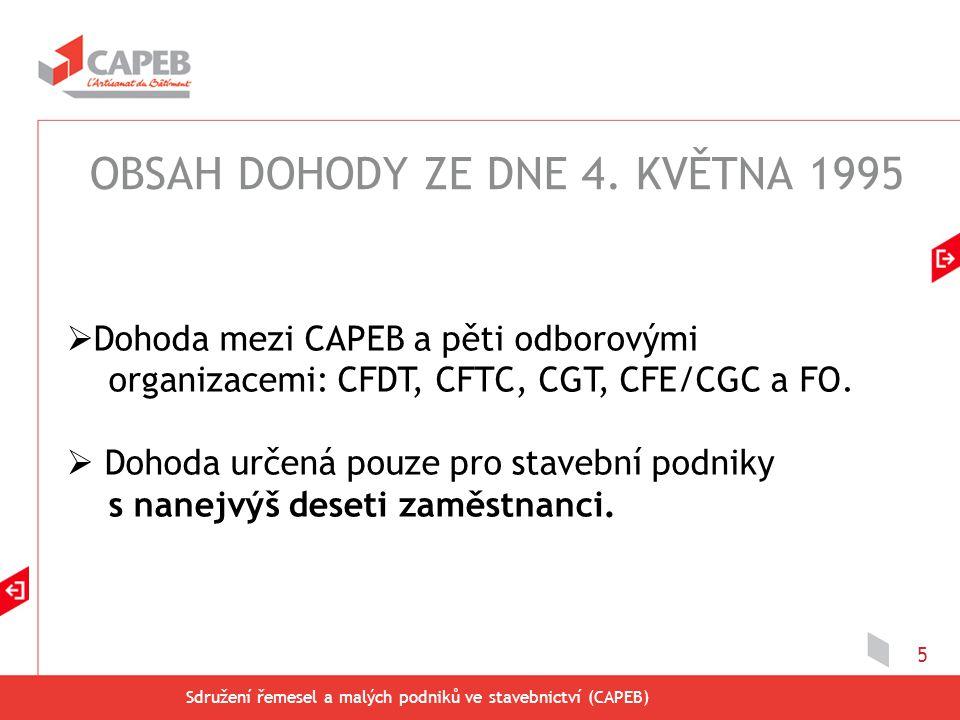 Sdružení řemesel a malých podniků ve stavebnictví (CAPEB) 5  Dohoda mezi CAPEB a pěti odborovými organizacemi: CFDT, CFTC, CGT, CFE/CGC a FO.  Dohod
