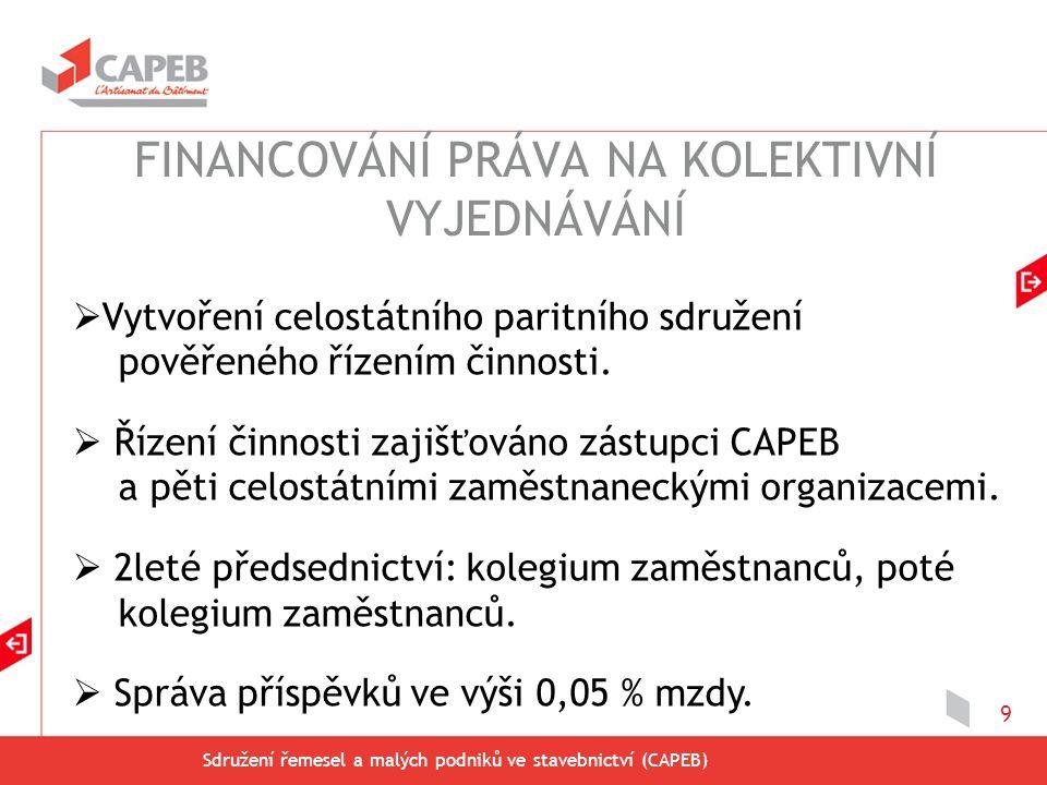 Sdružení řemesel a malých podniků ve stavebnictví (CAPEB) 10  Úhrada příspěvků ve výši 0,05 % mzdy stavebními podniky s nanejvýš deseti zaměstnanci.