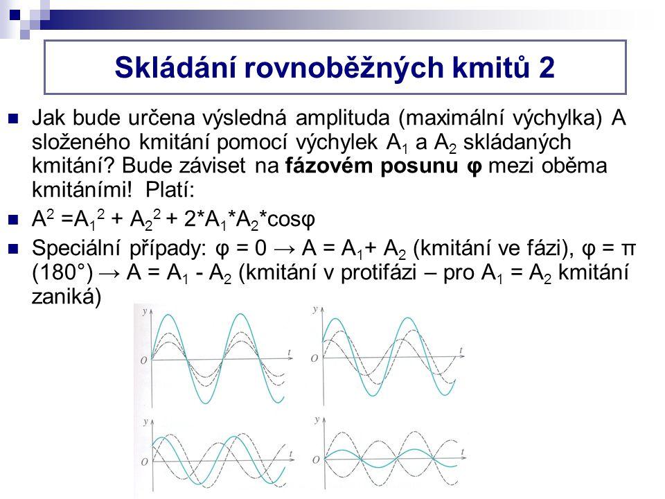 Jak bude určena výsledná amplituda (maximální výchylka) A složeného kmitání pomocí výchylek A 1 a A 2 skládaných kmitání.