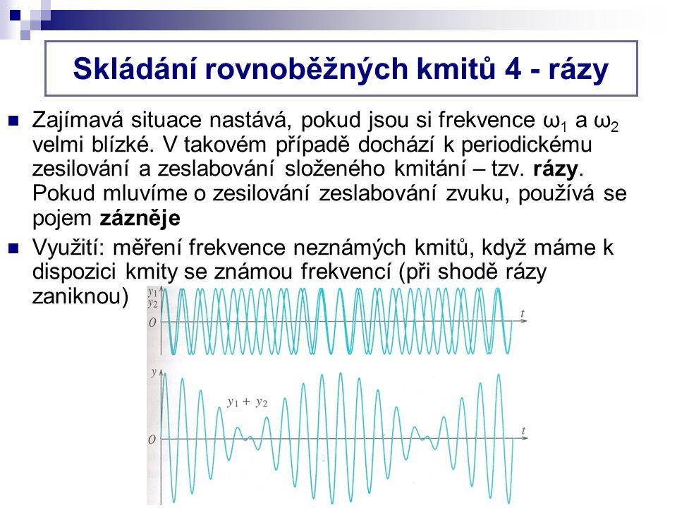 B) dochází k navzájem kolmým kmitům, jejichž frekvence jsou v celočíselném poměru, tj.