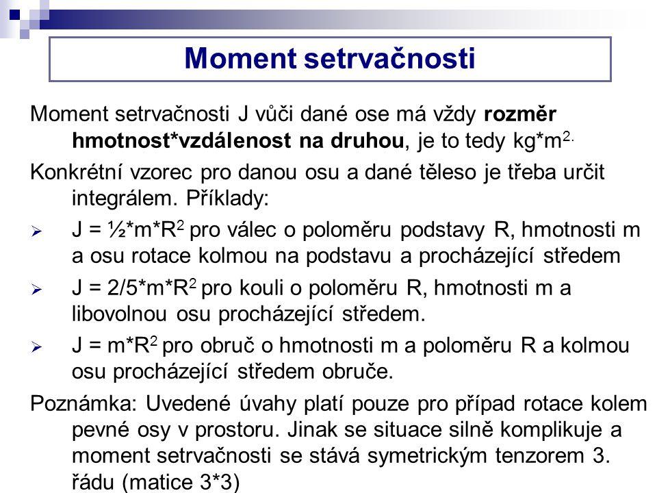 Moment setrvačnosti Moment setrvačnosti J vůči dané ose má vždy rozměr hmotnost*vzdálenost na druhou, je to tedy kg*m 2.
