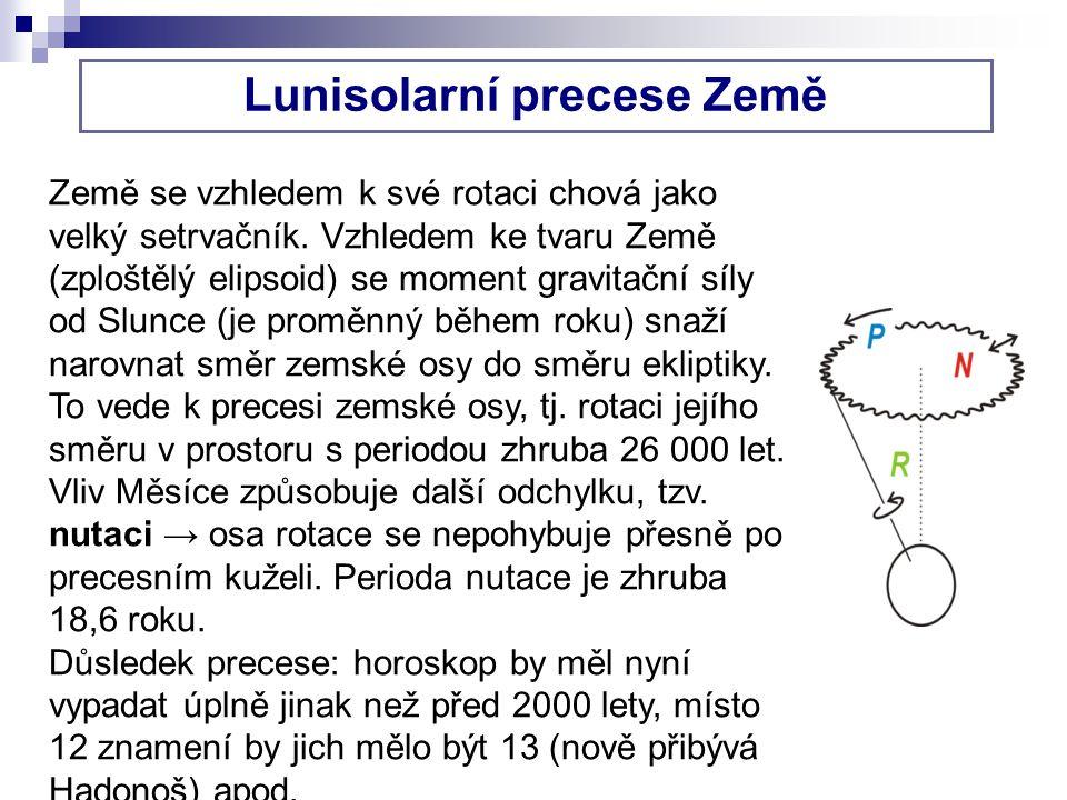 Lunisolarní precese Země Země se vzhledem k své rotaci chová jako velký setrvačník.