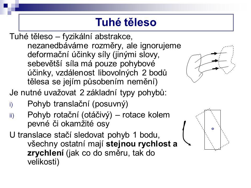 Těžiště – působiště tíhové síly (působiště výslednice tíhových sil na jednotlivé (nekonečně malé) části tělesa), značíme T.