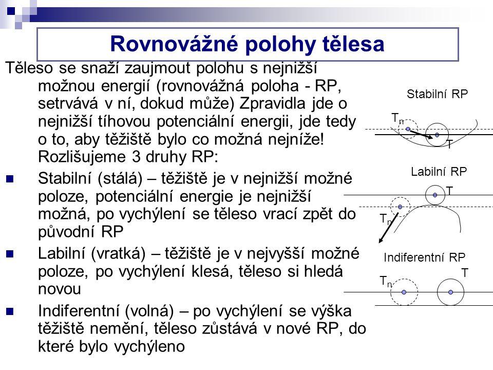 Těleso se snaží zaujmout polohu s nejnižší možnou energií (rovnovážná poloha - RP, setrvává v ní, dokud může) Zpravidla jde o nejnižší tíhovou potenciální energii, jde tedy o to, aby těžiště bylo co možná nejníže.