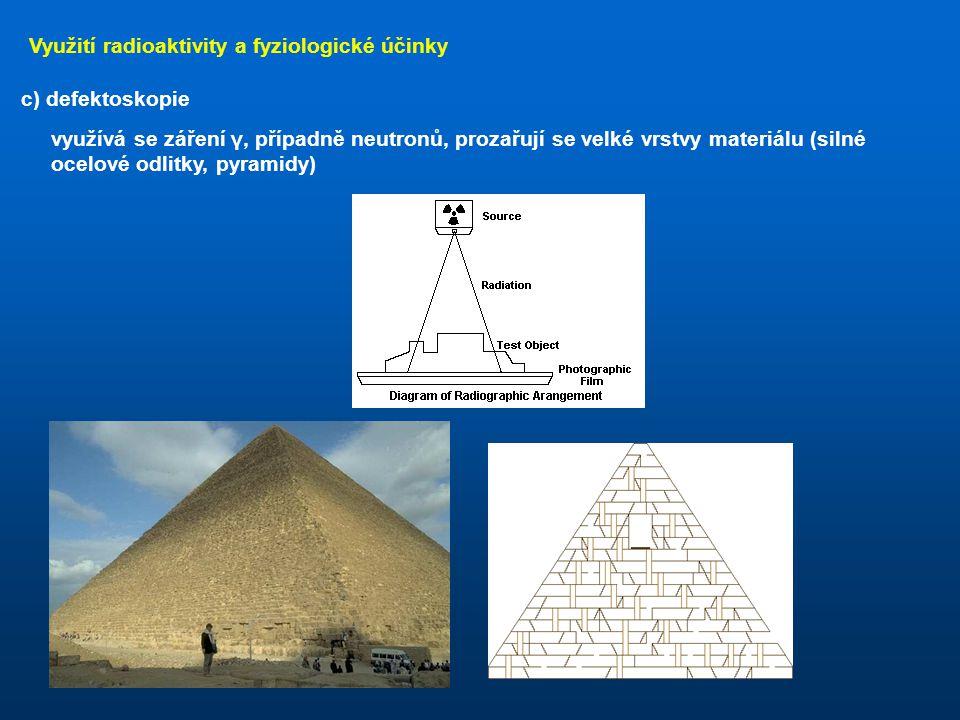 Využití radioaktivity a fyziologické účinky b) měření a kontrola tenkých vrstev využívá se záření α nebo β: zářič je na jedné straně kontrolovaného ma
