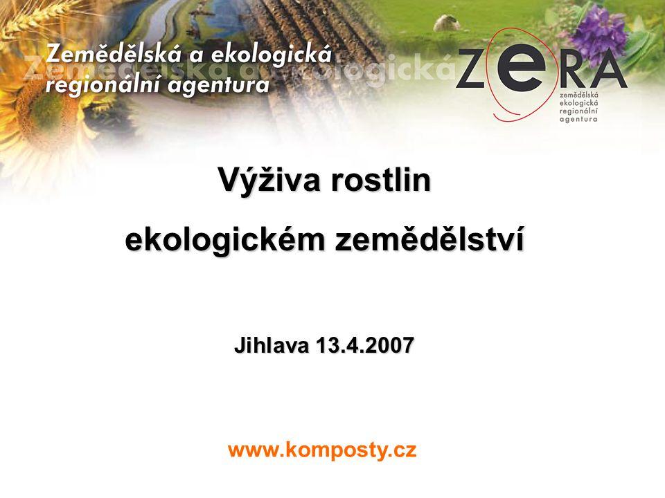 www.komposty.cz Výživa rostlin ekologickém zemědělství Jihlava 13.4.2007