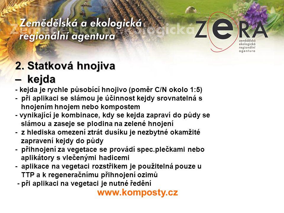 www.komposty.cz 2. Statková hnojiva – kejda - kejda je rychle působící hnojivo (poměr C/N okolo 1:5) - při aplikaci se slámou je účinnost kejdy srovna