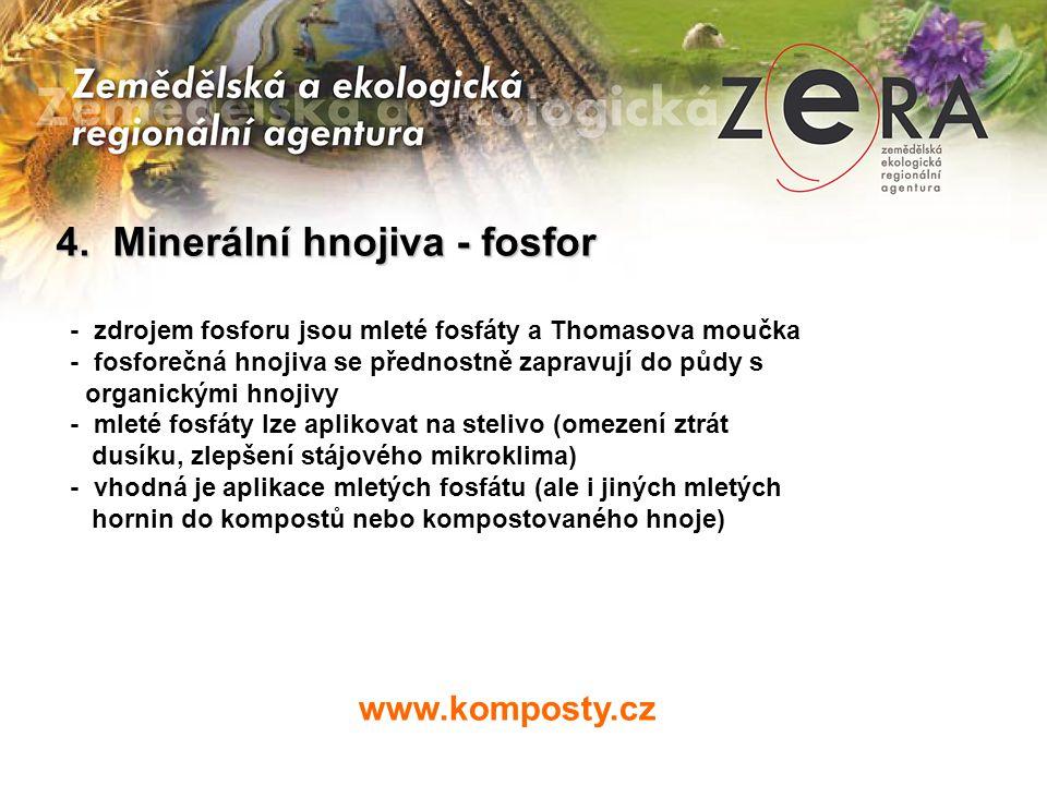 www.komposty.cz 4. Minerální hnojiva - fosfor - zdrojem fosforu jsou mleté fosfáty a Thomasova moučka - fosforečná hnojiva se přednostně zapravují do