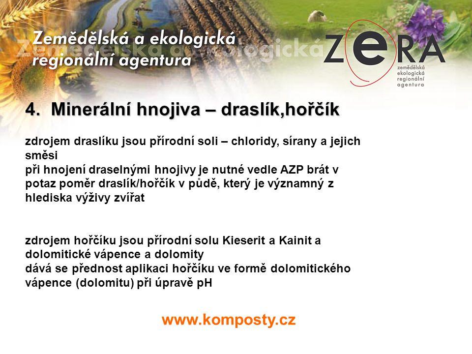 www.komposty.cz 4. Minerální hnojiva – draslík,hořčík zdrojem draslíku jsou přírodní soli – chloridy, sírany a jejich směsi při hnojení draselnými hno