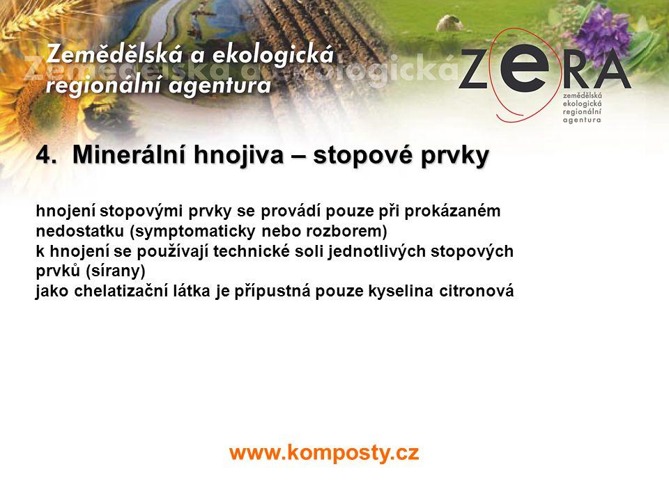 www.komposty.cz 4. Minerální hnojiva – stopové prvky hnojení stopovými prvky se provádí pouze při prokázaném nedostatku (symptomaticky nebo rozborem)