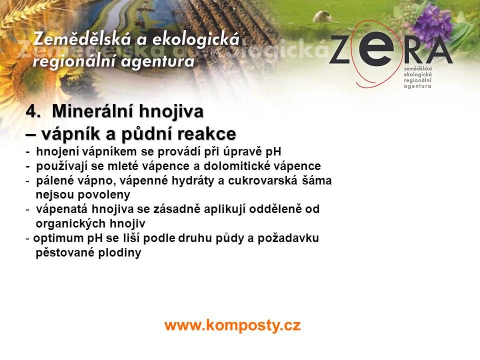 www.komposty.cz 4. Minerální hnojiva – vápník a půdní reakce - hnojení vápníkem se provádí při úpravě pH - používají se mleté vápence a dolomitické vá