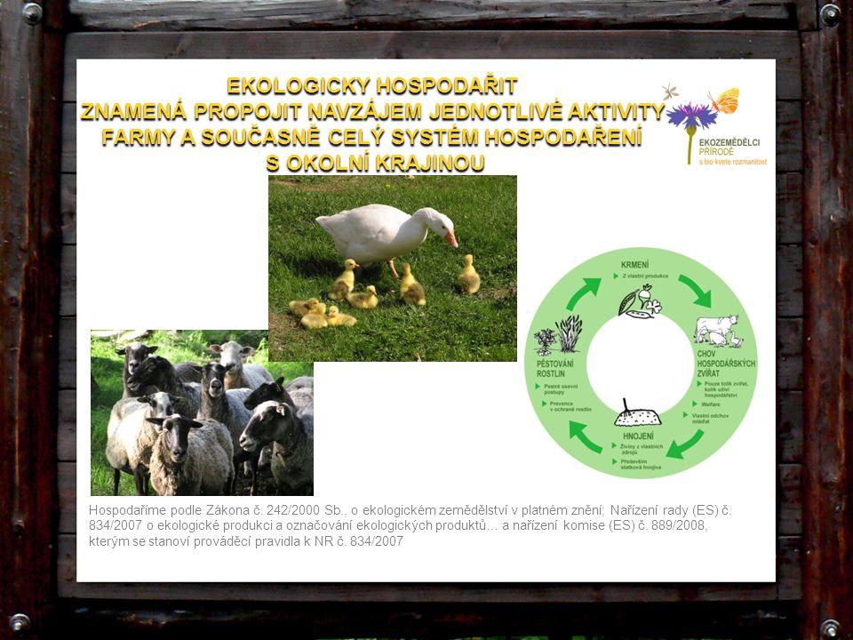EKOLOGICKY HOSPODAŘIT ZNAMENÁ PROPOJIT NAVZÁJEM JEDNOTLIVÉ AKTIVITY FARMY A SOUČASNĚ CELÝ SYSTÉM HOSPODAŘENÍ S OKOLNÍ KRAJINOU EKOLOGICKY HOSPODAŘIT Z