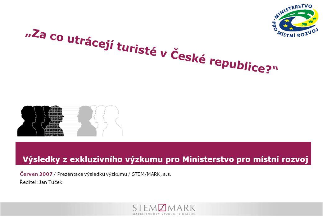 """Výsledky z exkluzivního výzkumu pro Ministerstvo pro místní rozvoj """"Za co utrácejí turisté v České republice? Červen 2007 / Prezentace výsledků výzkumu / STEM/MARK, a.s."""