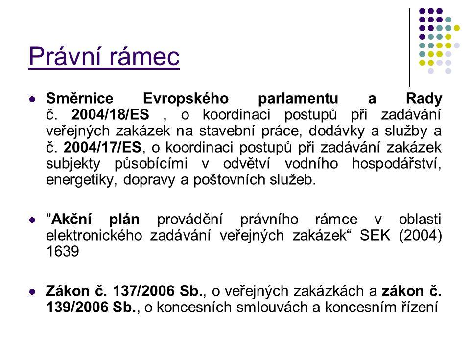 Právní rámec Směrnice Evropského parlamentu a Rady č. 2004/18/ES, o koordinaci postupů při zadávání veřejných zakázek na stavební práce, dodávky a slu