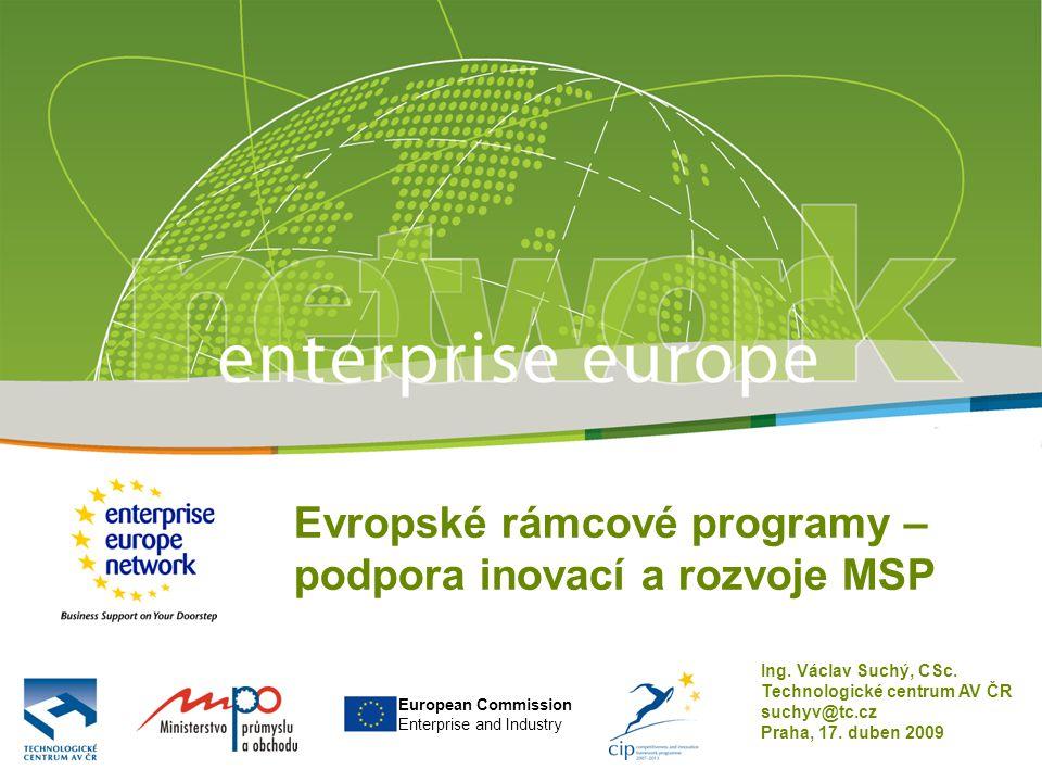 European Commission Enterprise and Industry Evropské rámcové programy – podpora inovací a rozvoje MSP Ing.