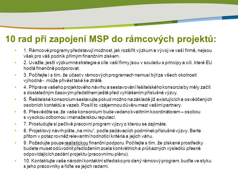 10 rad při zapojení MSP do rámcových projektů: 1.