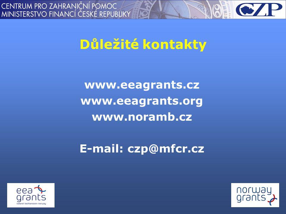 Důležité kontakty www.eeagrants.cz www.eeagrants.org www.noramb.cz E-mail: czp@mfcr.cz